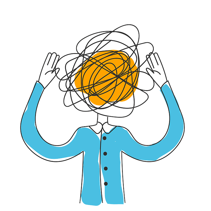 Illustrator showing a stressed figure